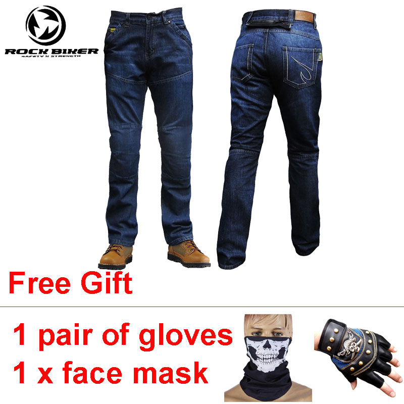 все цены на ROCK BIKER Wearable Motocross Pants Motorcycle Protective Pants Jeans Trousers Motosiklet Pantalon de Moto Hombre with Big Size онлайн