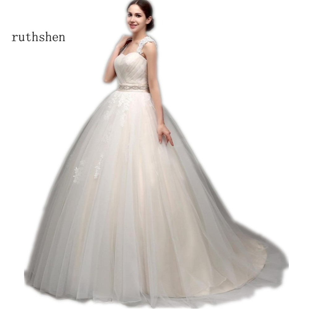 ruthshen Vestidos Baratos Wedding Dresses Cheap With Cap Sleeves Appliques Ruched Tulle Beaded Bridal Ball Gown