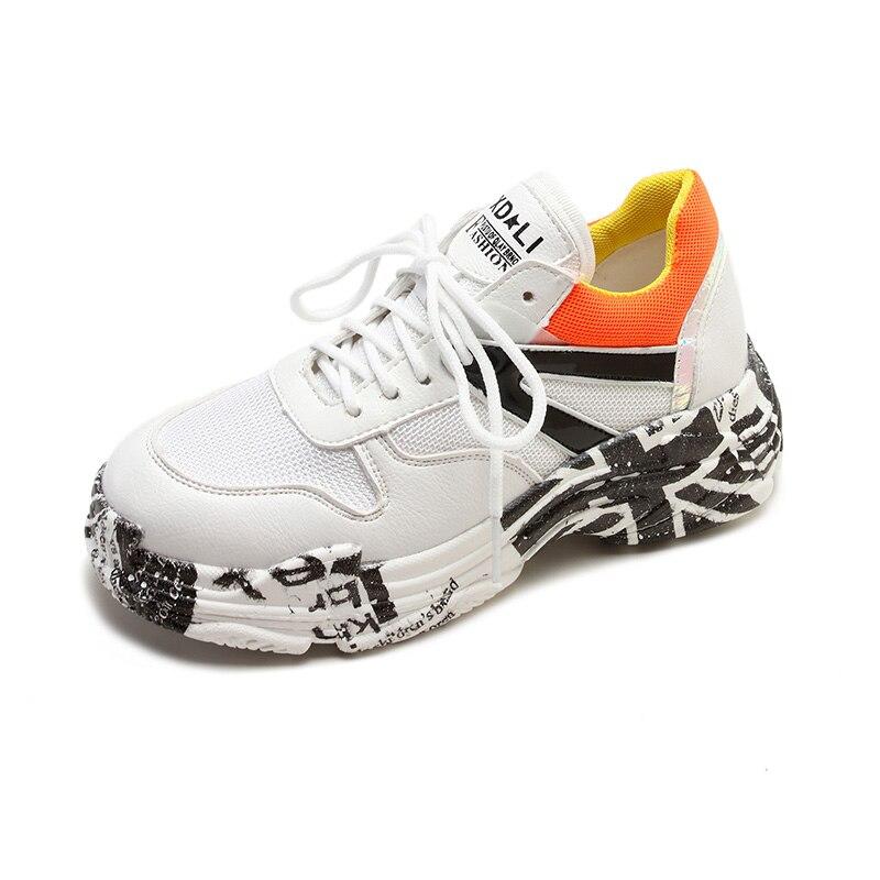 Salvaje De Malla Zapatos Mujeres Aumentar naranja La Nueva Las Transpirable Negro Graffiti Los Solos Coreana Casuales Versión Caliente Venta Hv0gz
