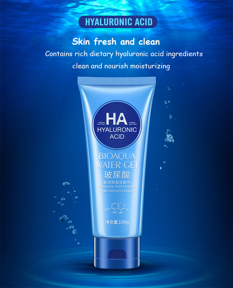 BIOAQUA Brand Hyaluronic Acid Facial Pore Cleanser Moisturizing Deep Cleaning Washing Whitening Hydrating Tender Face Skin Care 9