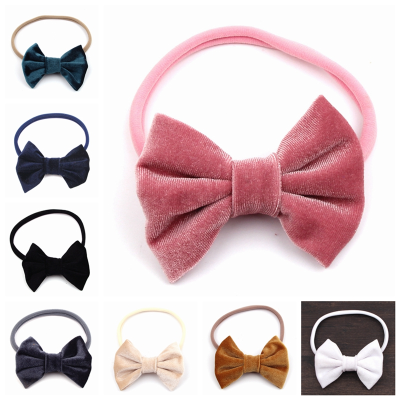 1PC Retail 2018 New Nylon Headband with 4 Big Smooth Velvet Kids Hair Bows Solid Mini Bow for Headband  Autumn&Winter Headwear handmade new solid maple wood brown acoustic violin violino 4 4 electric violin case bow included