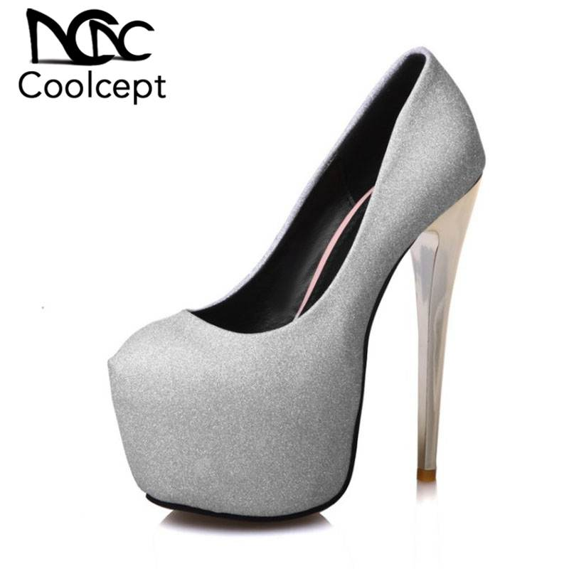 Coolcept Plus Size 35-48 Women Pumps Sexy Bling Shine Platform Shoes For Women Super High Heels Sexy Nightclub Party FootwearCoolcept Plus Size 35-48 Women Pumps Sexy Bling Shine Platform Shoes For Women Super High Heels Sexy Nightclub Party Footwear