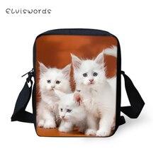 ELVISWORDS Fashion Women Messenger Bags White Angora Baby Cats Prints Girls Flaps Shoulder Kawaii Animal Travel Mini Purses
