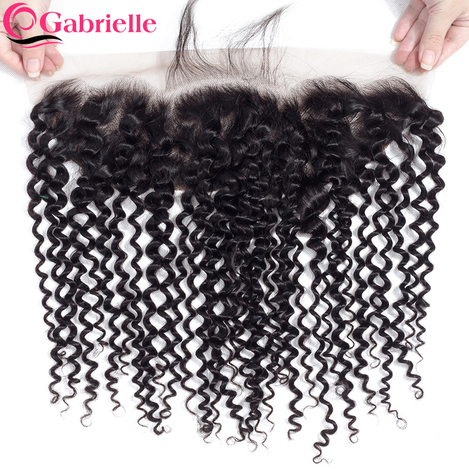 Gabrielle Closure Human-Hair Lace-Frontal Natural-Color Kinky-Curly13x4 8-22inch Brazilian