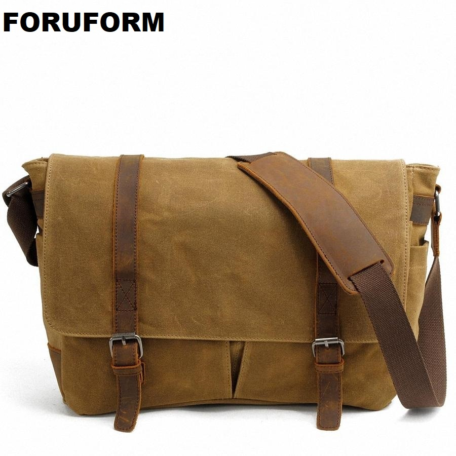 14 Inch Laptop Briefcase Retro Vintage Waterproof Canvas Shoulder Bag Travel Messenger Bag Man Crossbody Bag LI-1489