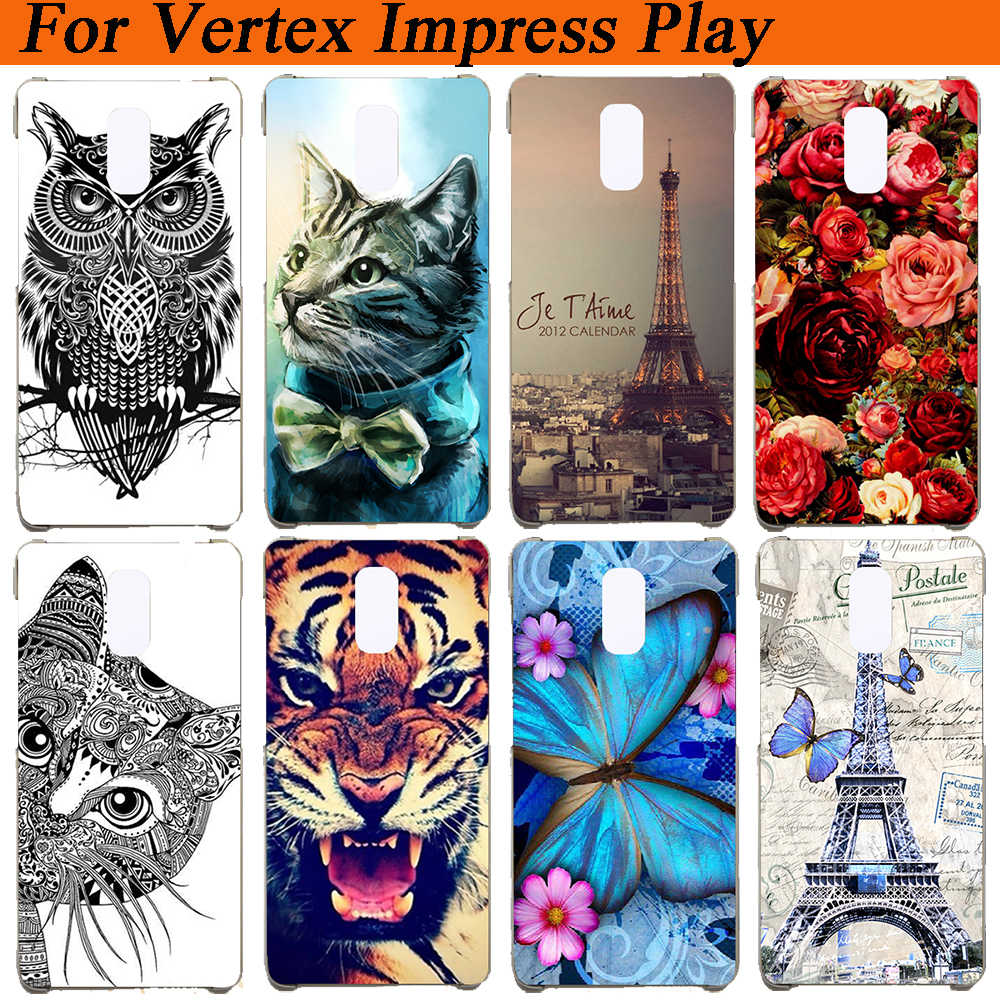 Vertex Impress Play Case Cover Silicon Wolf Tiger Uil Eiffel Towers Patroon Geschilderd Soft Tpu Case Voor Vertex Impress Spelen cover