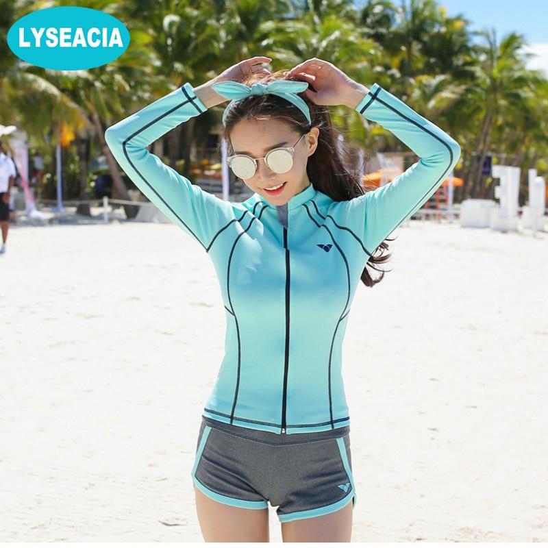 Suits & Sets Women's Clothing Women Light Blue Sripe Cute Surf Wear Long Sleeve Beach Two Piece Suit Swimwear 1.7 P35