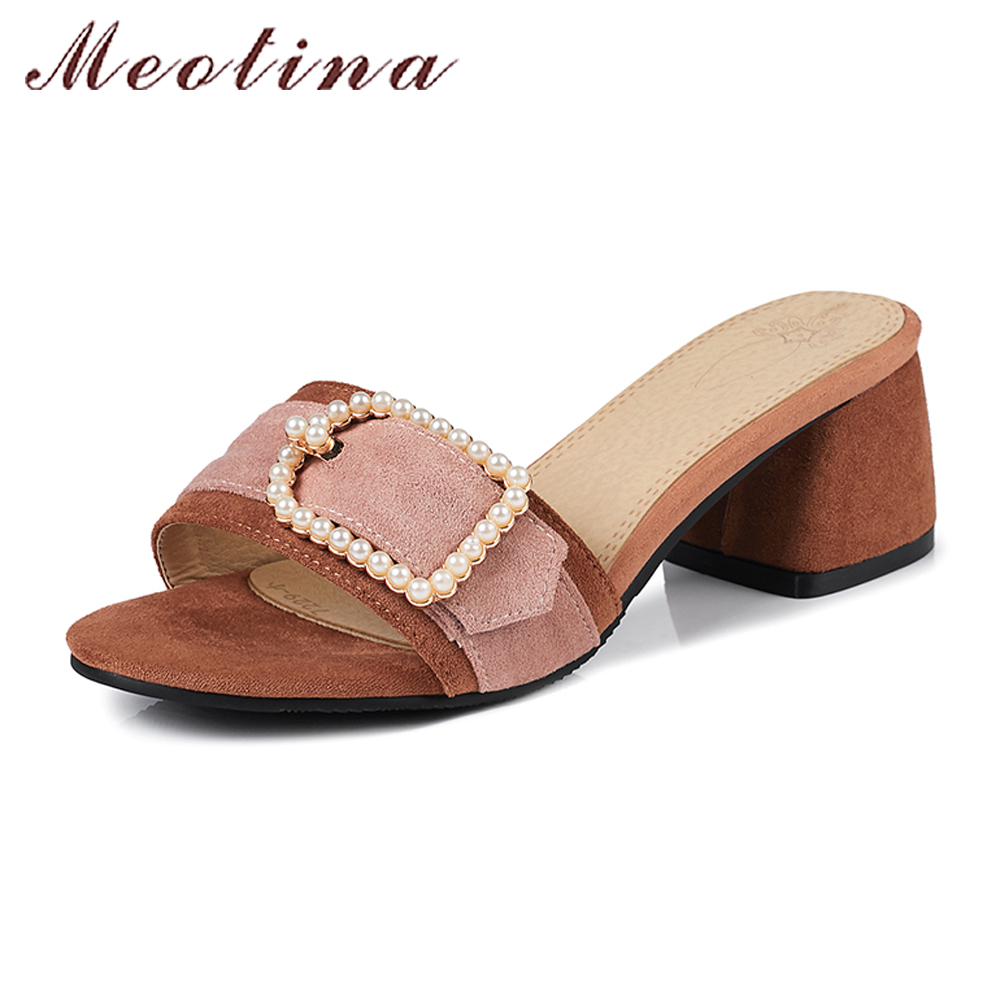 Meotina Summer Shoes Sandals 2018 Women Slides Pearls Thick High Heels Casual Slippers Mix-Color Shoes Big Size 9 42 43 Brown brown women slippers super high heels with platform slides scarpe donna sandali 2017 fashion summer women shoes plus size