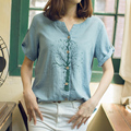 National trend open-neck loose short-sleeve T-shirt all-match fluid casual top