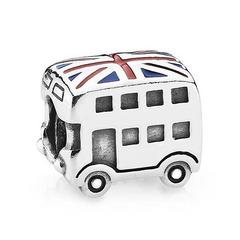 Authentic 925 Sterling Silver Bead Charm Enamel London Double Decker Bus Beads Fit Pandora Bracelet Bangle Diy Jewelry