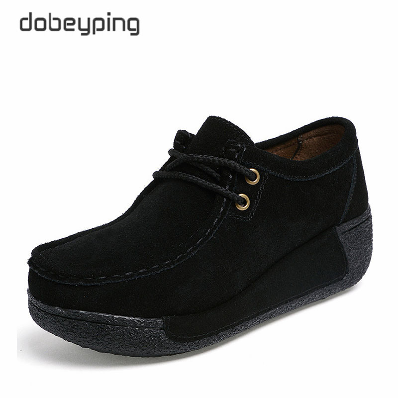 Image 4 - 2018 New Spring Summer Casual Shoes Woman Slip On Platform Women Flat Shoe Cow Leather Womens Loafers Moccasins Female Sneakersslip on platformslip on platform womenshoes woman slip on -