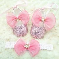 set of baby shoes moccasins headband crystal rhinestone tips bling baby shower shoes newborn girl shoes newborn gift box