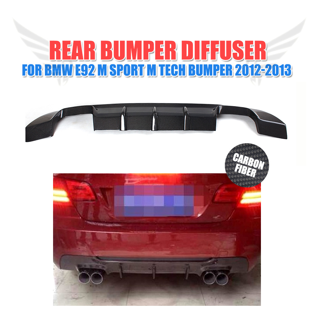 Rear Bumper Lip Diffuser Spoiler For BMW 3 Series E92 M-Sport Coupe Convertible 2012 2013 Carbon Fiber / FRP Unpainted Grey