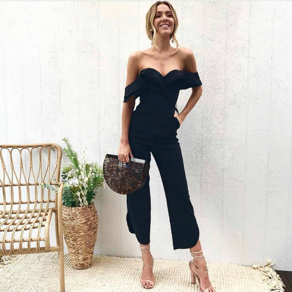 2018 Sexy Backless Off Shoulder Black Jumpsuit Women Tiered Ruffle Sleeve Playsuit High Waist Romper Split Casual Overall Femme ...