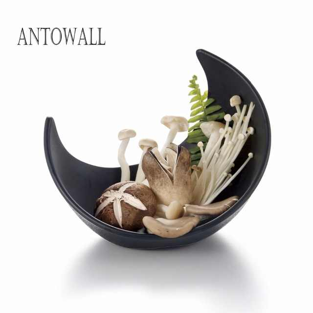 ANTOWALL Imitation Porcelain Plastic Melamine deep Salad Bowl Household Chinese Dinnerware Crescent shape Bowl Supplies