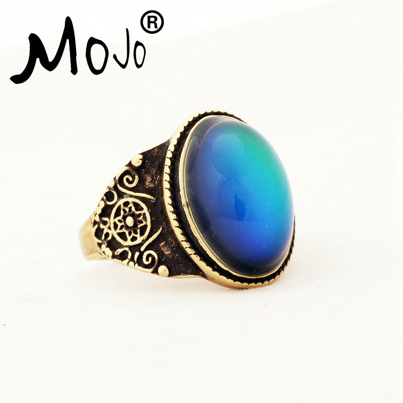 Black 10# Vintage Unique Emotion Mood Ring Color Changing Ring for Men Women Couples Party Anniversary Accessory for Gift