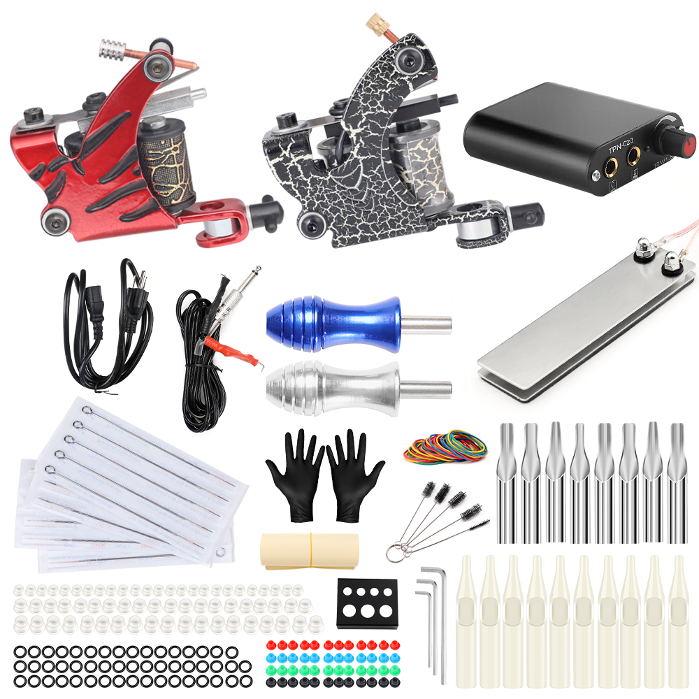 Tattoo Complete Kit for Beginner 2 Red Coil Tattoo Machine Power Supply Foot Pedal Switch Needles Set tattoo kits for cheap stigma tattoo complete 2 coil tattoo machine kit power supply foot pedal switch needles set tk201 6