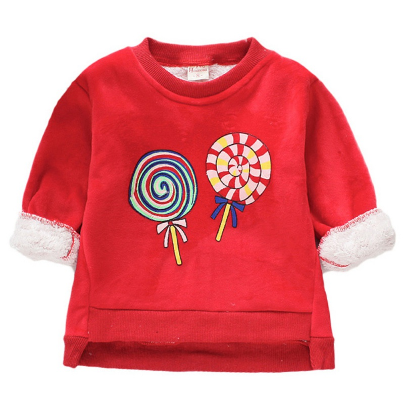 Baby Clothes For Girl Long Sleeve Cartoon Print Baby Girl Sweater Top Winter Warm Plus Velvet Kids Clothes Pullover 2