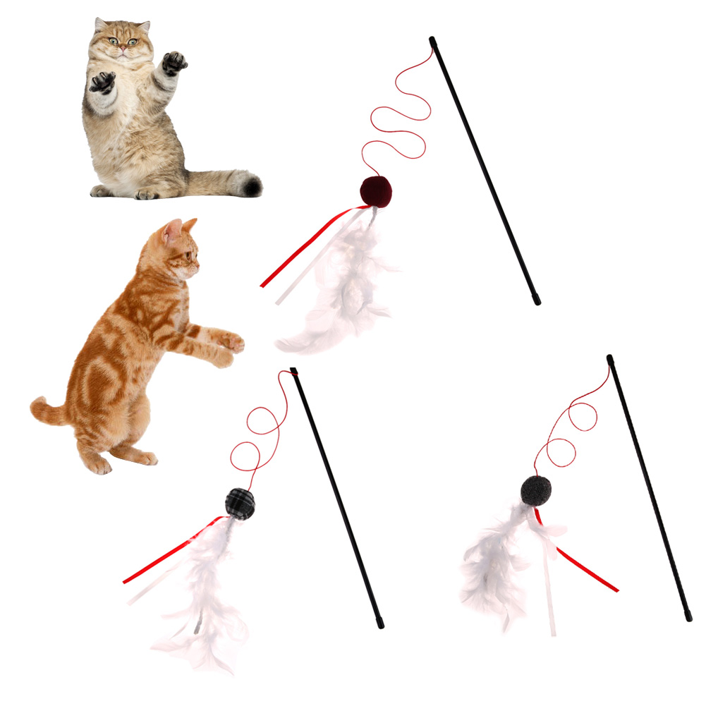 Feather Cat Toys Ball Cute Design Multi Color Soft Bird Feather Elastic Rod Fun Pet Products Creative Playing Cat Toy