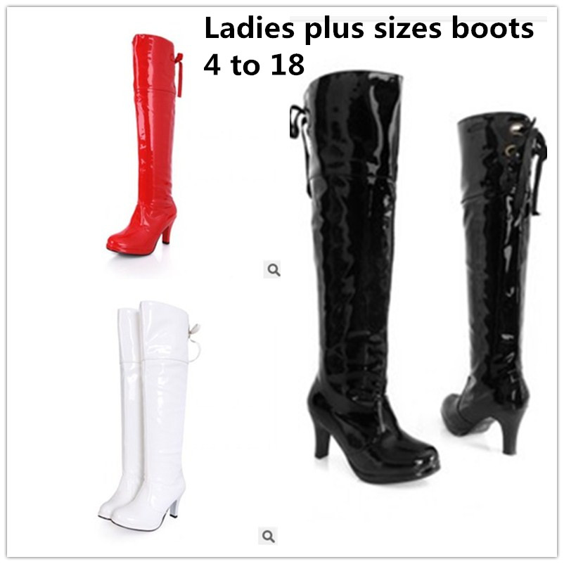 Ladys big size 4-17 velvet waterproof patent leather Lace-up Motorcycle thin high heeled boots women shoes round toe knee boot цена