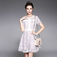 Two Tone Floral Lace Dress Feminine Short Sleeve Banded Mini A Line Dresses Purple Pink Plus