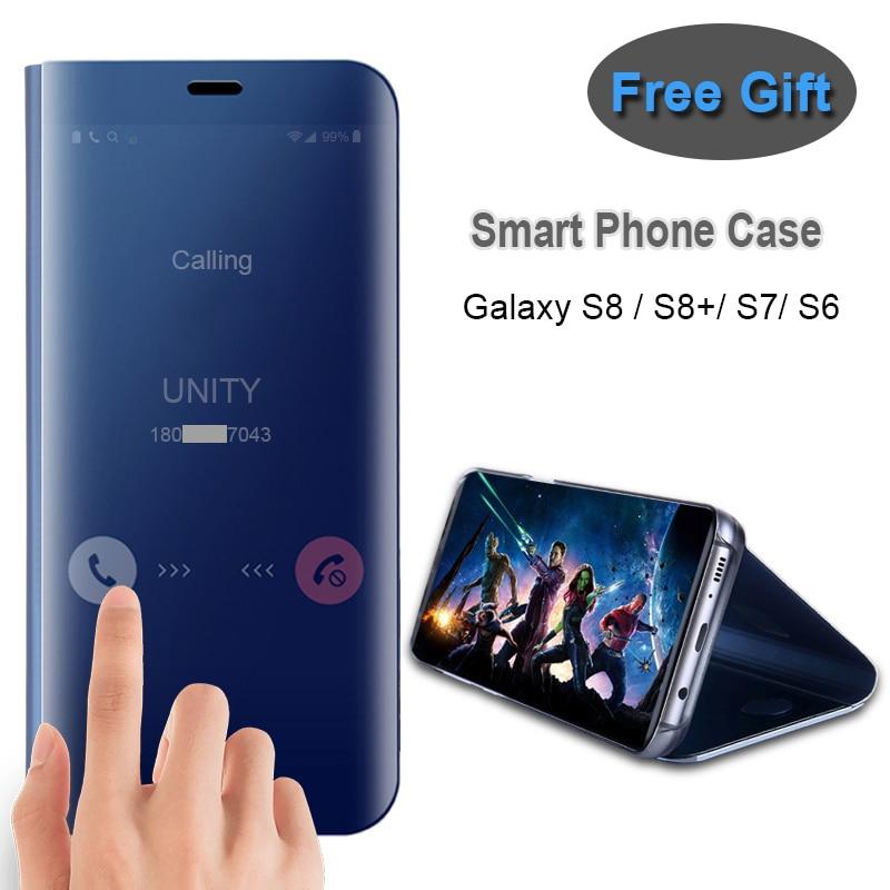 imágenes para Caso elegante de la Cubierta Del Espejo de Visión Clara Para Samsung Galaxy Plus S7 S8 Borde Caso Elegante Bolsa Para Samsung S8 S6/S8 Más Deslice contestar