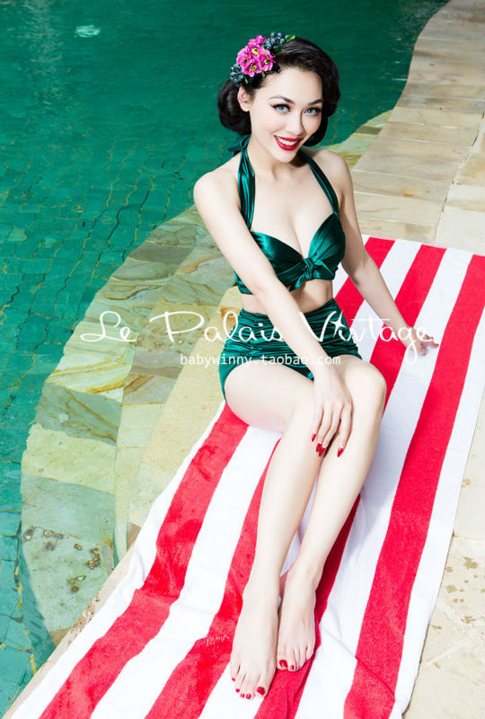 ФОТО limited Ultra Slim fold emerald retro split swimsuit swimset Tankinis Set