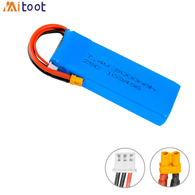 Rc Lipo Battery 7.4V 3000mAH 25C 2S Lipo Battery Upgraded Battery For MJX B6 B8 Bugs 6 RC Quadcopter