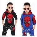 2015 del resorte nuevos bebés ropa establece spiderman traje de paño de los niños niños ropa de fiesta de los niños sistema del muchacho sudaderas con capucha para 2-7