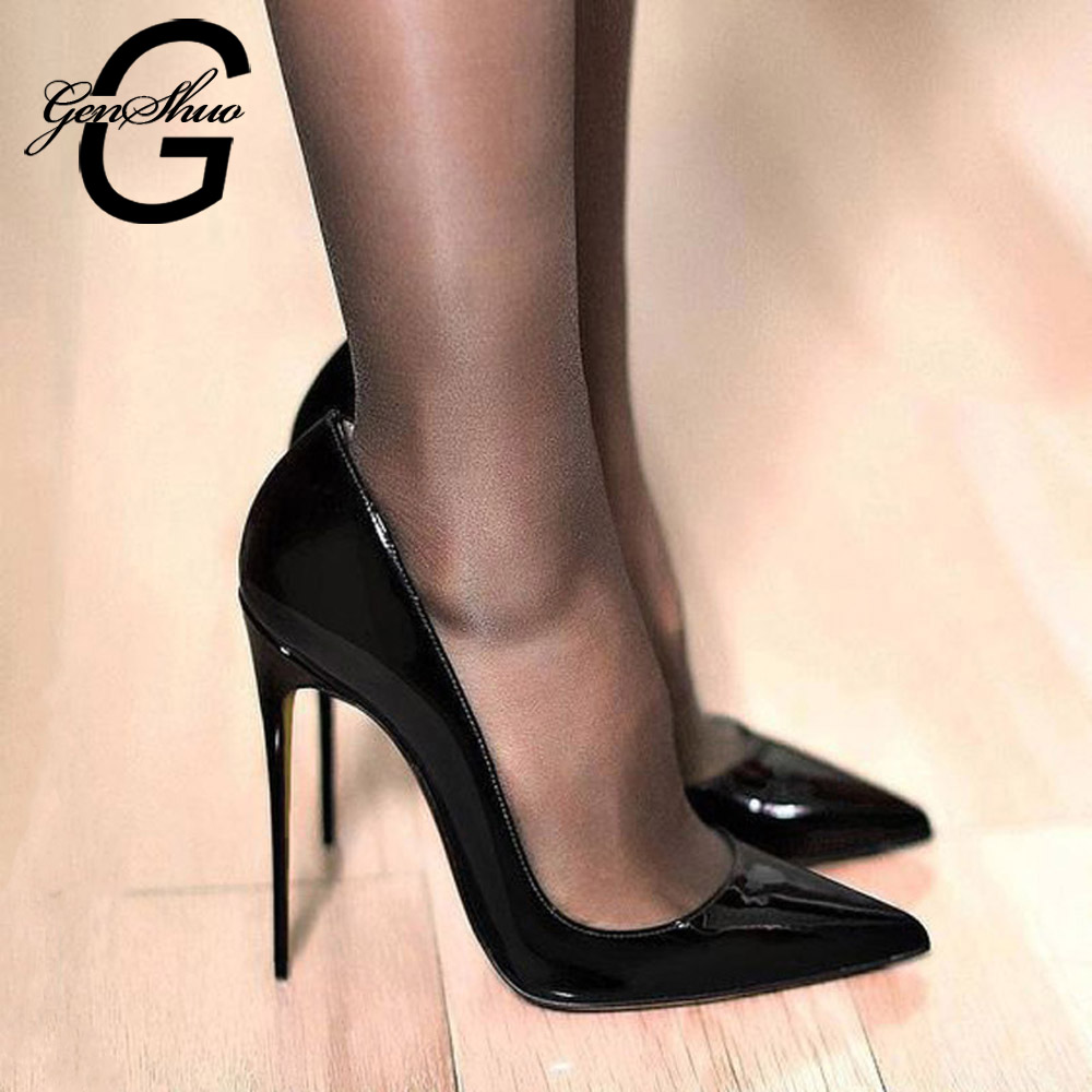 GENSHUO Stiletto Shoes Women Pumps Pointed-Toe High-Heels Sexy Black Big-Size Plus Patent Leather