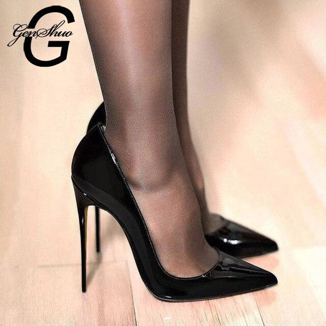 GENSHUO zapatos de tacón alto de charol para mujer, calzado Sexy con punta puntiaguda, 11 12 talla grande, color negro