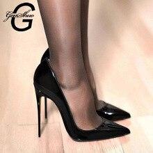 Genshuo bombas femininas marca de salto alto preto patente couro apontou toe sexy stiletto sapatos mulher senhoras mais tamanho grande 11 12