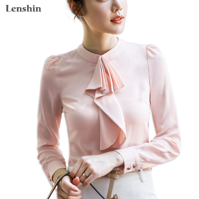 817be2ebb1ab Lenshin Chiffon Shirts for Women Tie Blouse Work Wear Office Lady Bow  Female Tops Chemise Loose Style