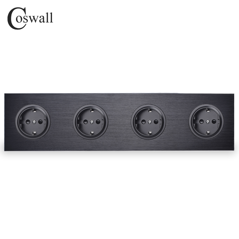 Coswall Black Aluminum Panel 16A Quadruple EU Standard Wall Power Socket 4 Way Outlet Grounded With Child Protective Lock