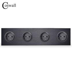 Coswall Zwart Aluminium Paneel 16A Quadruple EU Standaard Stopcontact 4 Way Outlet Geaard Met Kind Beschermende Lock