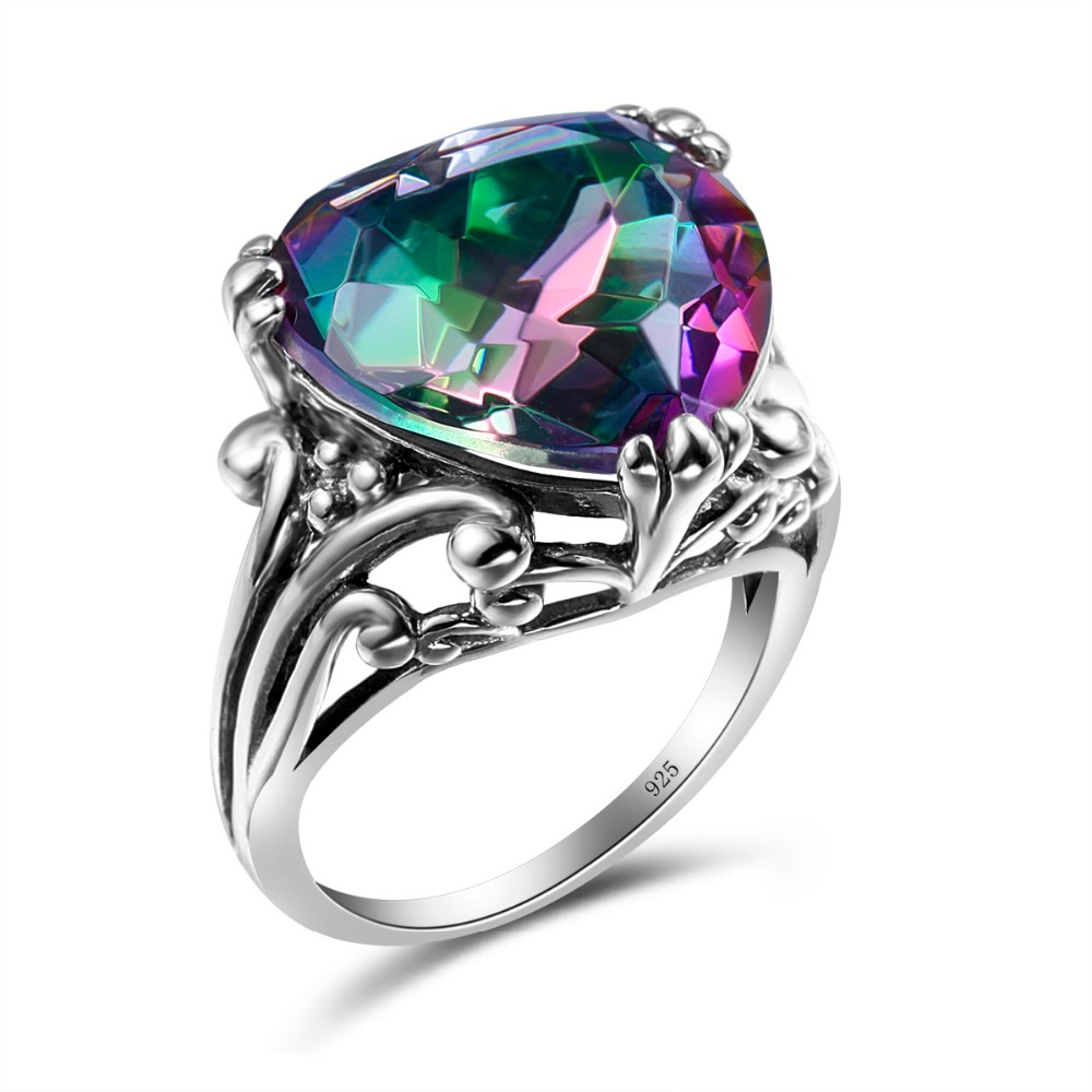 925 Silver Rainbow Topaz /& Emerald Ring Double Heart Love Wedding Jewelry