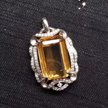 ON SALE only one real s925 silvery gems size 10*15mm real 925 silver natural citrine pendant for women pendants neckalces