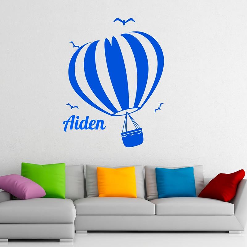 YOYOYU Hot Air Balloon Vinyl wall stickers kids room Personalised Custom Name Remove Decal Bedroom Nursery Room Decorative ZX281