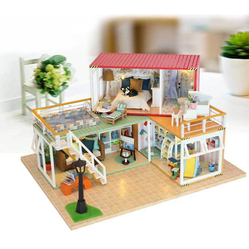 DIY DollHouse Container Home Miniature With Furnitures LED Light Building Model Wooden Doll House Toys Gift YOUR NAME 13841A #D