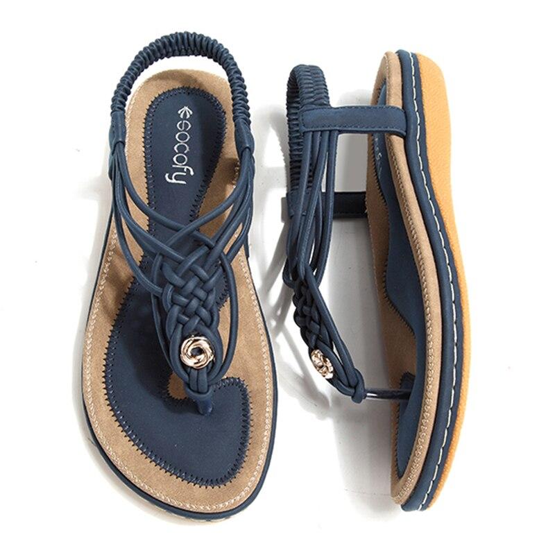 d6b1cd287a1e5 Sandales Chaussures Grande Blue Blue Slip Arrière Tongs royal on Femmes  Doux D'été Clip Socofy Noir Bride ...
