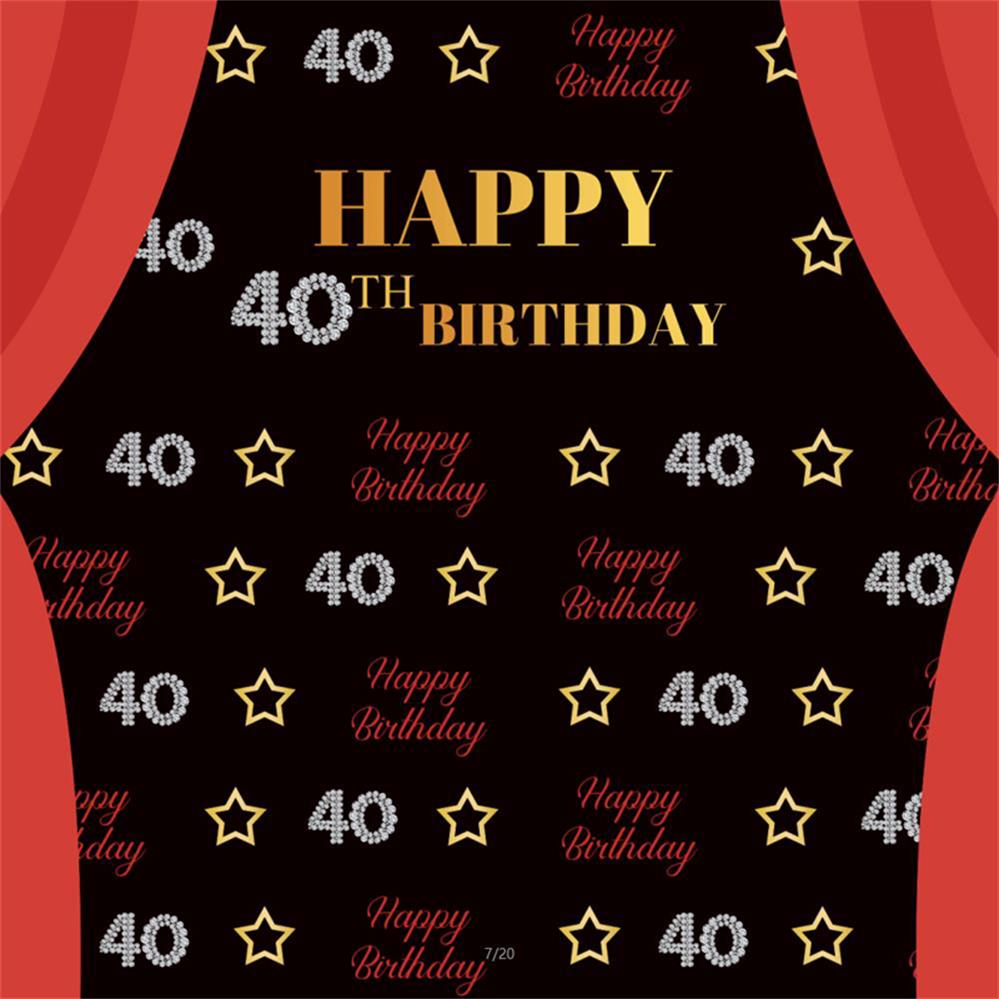 Happy 18th Birthday Party Gold Star Red Curtain Child Portrait Photography Backgrounds Photo Backdrops Photocall Photo Studio in Background from Consumer Electronics