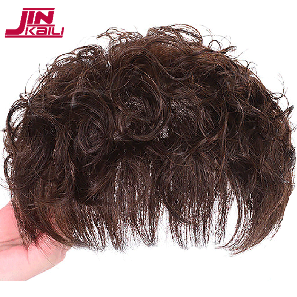 JINKAILI Durable Hairpieces Lace PU Replacement Top Head Toupees Synthetic Straight Black Brown Clip In Air