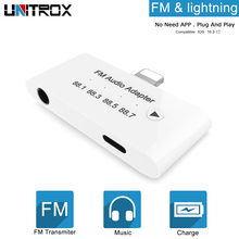3 in 1 for lightning to FM Audio Charging Adapter Transmitter Kit with 3.5mm Headphone Aux Jack iPhone X/8P/7P iPod/iPad