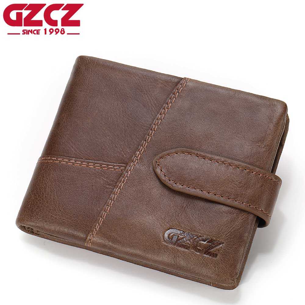 GZCZ Famous Brand Men Wallets Luxury Genuine Cow Leather Design Male Purse with Coin Pocket Hasp Zipper Short Vintage Walet