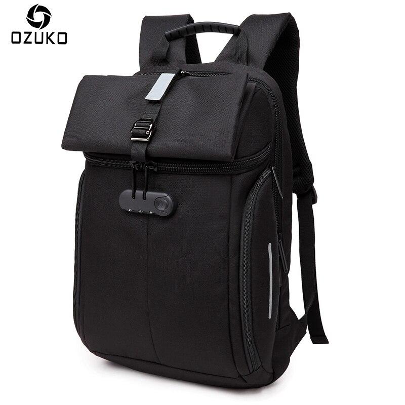 Ozuko новые Оксфордские Водонепроницаемый Рюкзаки модные паролем Anti-Theft рюкзак Для Мужчин's Бизнес ноутбук рюкзак Повседневное школьная сумка