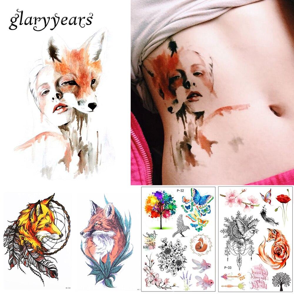 Новое поступление 1 Простыни Временные татуировки Стикеры km-056 цветок рука Средства ухода за кожей Книги по искусству Водонепроницаемый татуировки Красота лиса Для женщин Coquette наклейка Дизайн