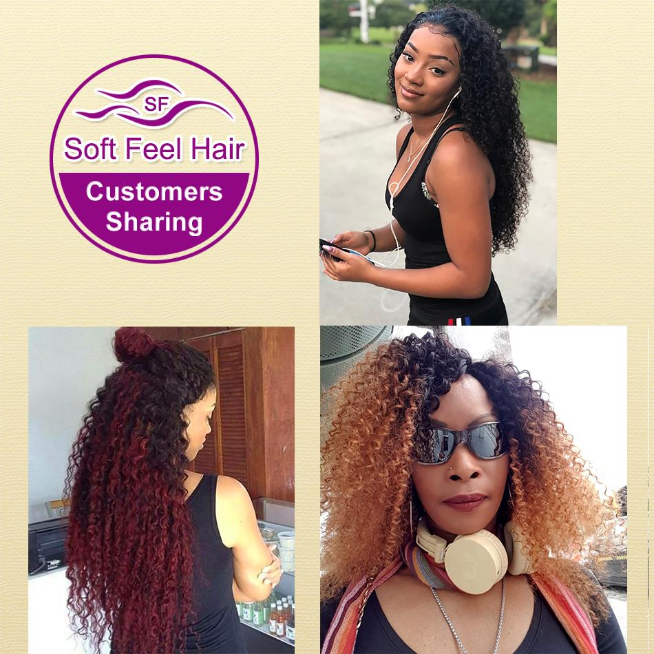 Image 5 - Soft Feel Hair Brazilian Kinky Curly Closure With Baby Hair Black Burgundy Ombre Human Hair Lace Closure 4x4 1B/30 Remy Closure-in Closures from Hair Extensions & Wigs