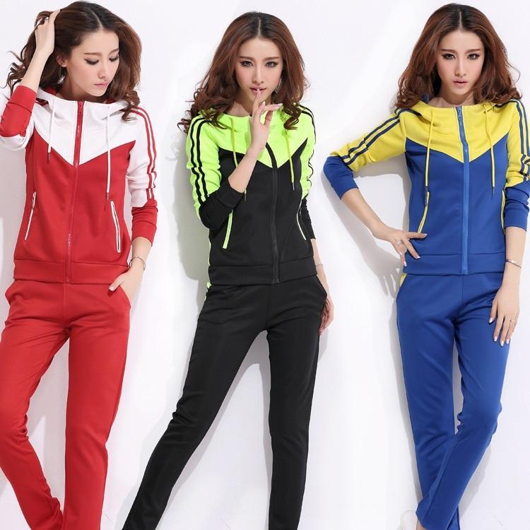 de4b054b9002e Women s sports suit hooded ladies  leisure twinset sportswear long sleeve  hoodi crop costume 2015 Size M-4XL