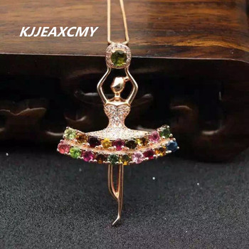 KJJEAXCMY Boutique jewelry Natural tourmaline, 925 Sterling Silver Pendant, candy necklace, female