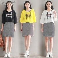 (T-Shirt + Elbise) İki Parçalı Set Giyim Için kadın Çizgili Jumper Elbise Mini Sundress Gevşek Üst Kapşonlu Sarı/Siyah/Beyaz #15